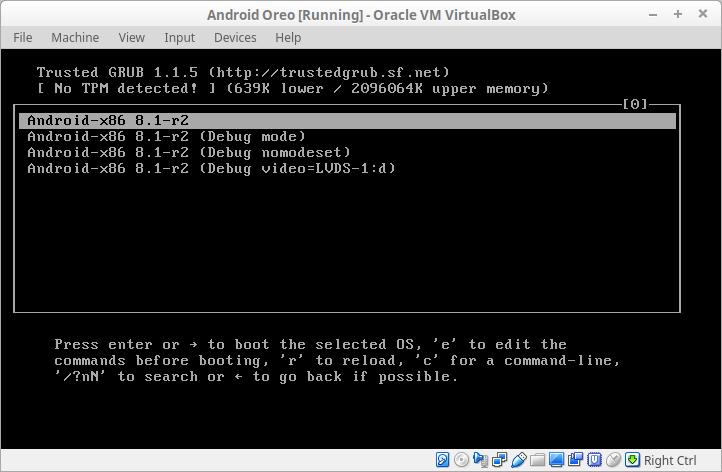 Android GRUB menu