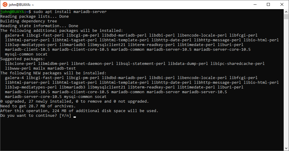 MariaDB 10.5 Installation