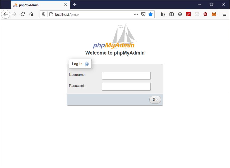 PhpMyAdmin application