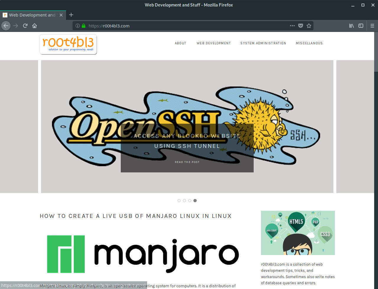 Firefox on Manjaro Linux Screenshot