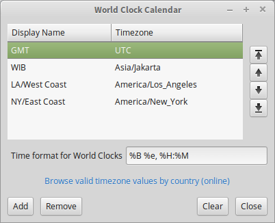 World Clock Setting